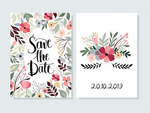 Bewaar de datumuitnodiging met bloemen en hand belettering Premium Vector