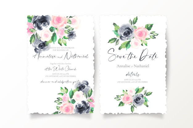 Bewaar de datumuitnodigingen met roze en zwarte bloemen Gratis Vector
