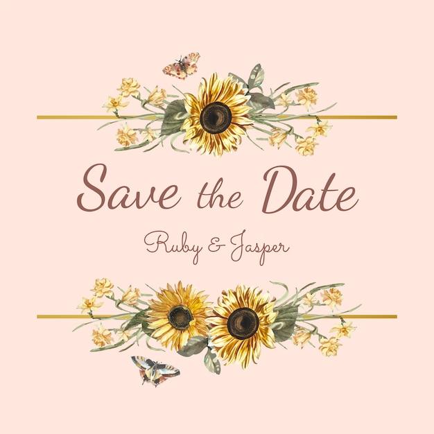 Bewaar de mockup vector van de het huwelijksuitnodiging van de datum Gratis Vector