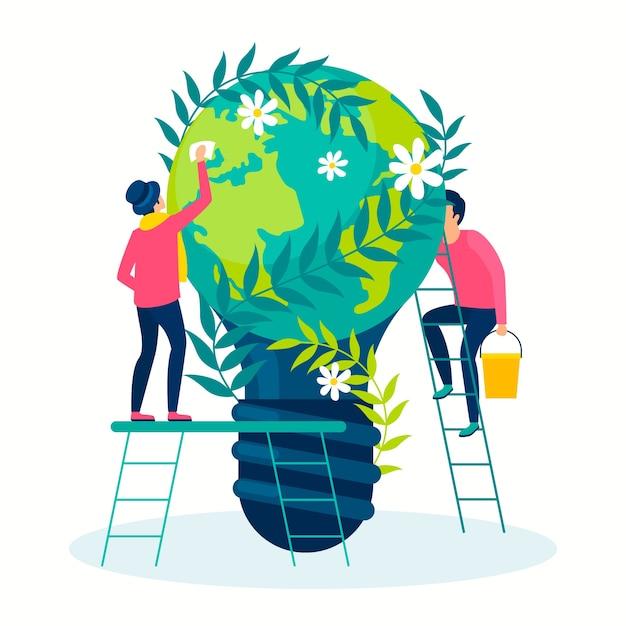 Bewaar het concept van de planeet illustratie Gratis Vector