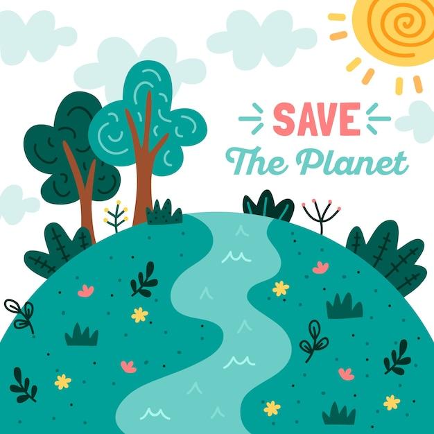 Bewaar het concept van de planeet Gratis Vector
