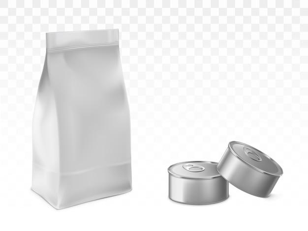 Bewaarde huisdier, babyvoeding verpakking vector set Gratis Vector