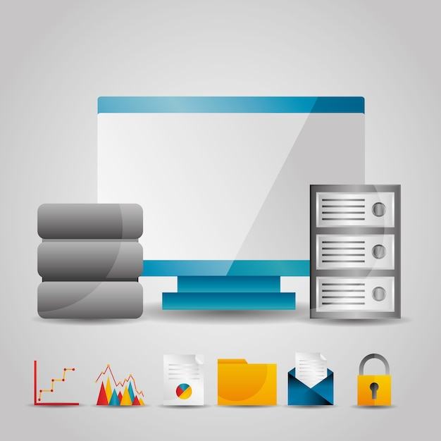 Bewak computerdataservertechnologie-informatie Premium Vector