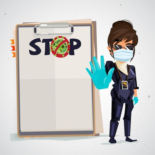Bewaker met stop virus tekst op papier Premium Vector