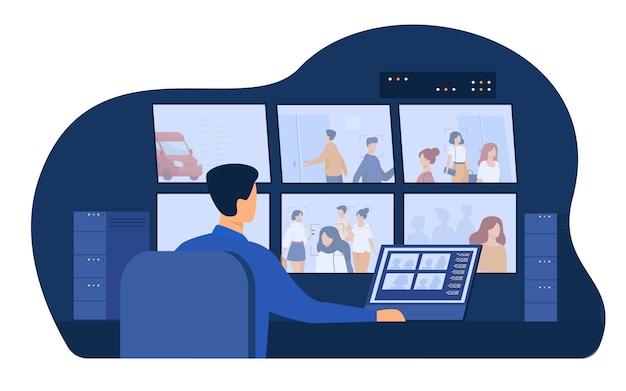 Bewaker service man zit op het configuratiescherm, bewakingscameravideo's bekijken op monitoren in cctv-controlekamer. vectorillustratie voor beveiligingssysteem werknemer, spionage, toezicht concept Gratis Vector