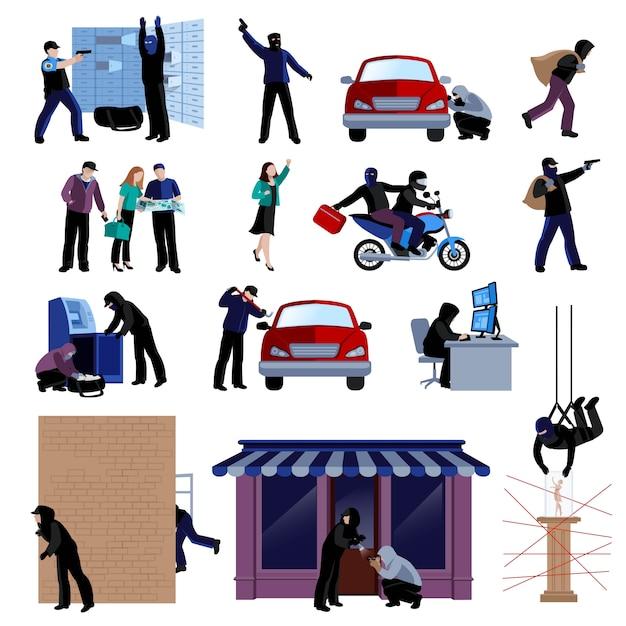 Bewapende inbrekers die misdaden vlakke pictogrammen begaan die op witte achtergrond geïsoleerde vectorillustratie worden geplaatst Gratis Vector
