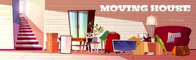 Bewegende huis cartoon concept met vak gevuld huishoudelijke spullen, bagage tassen, huis planten Gratis Vector