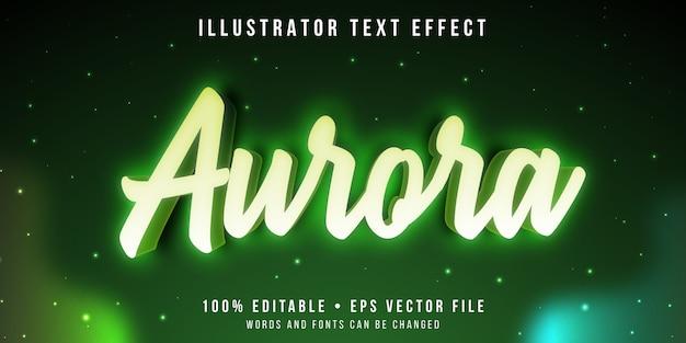 Bewerkbaar teksteffect - aurora lichtstijl Premium Vector