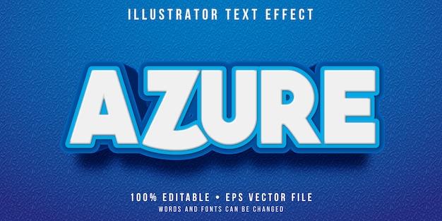 Bewerkbaar teksteffect - azuurblauwe stijl Premium Vector