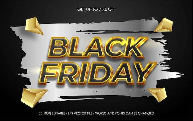 Bewerkbaar teksteffect, black friday-gouden stijl Premium Vector