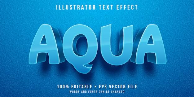 Bewerkbaar teksteffect - blauwe aquakleurstijl Premium Vector