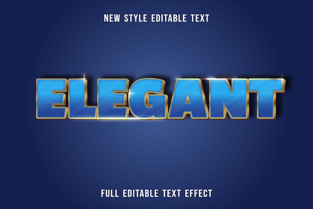 Bewerkbaar teksteffect elegante kleur blauw en goud Premium Vector