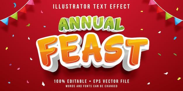 Bewerkbaar teksteffect - feeststijl Premium Vector