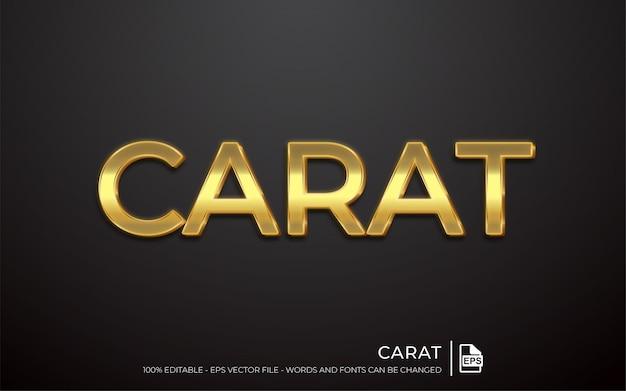 Bewerkbaar teksteffect, gouden karaatstijl Premium Vector