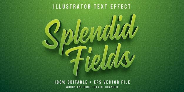 Bewerkbaar teksteffect - grasveldstijl Premium Vector