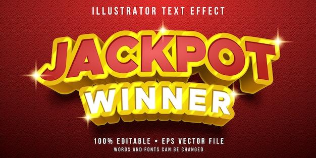Bewerkbaar teksteffect - jackpot prijsstijl Premium Vector