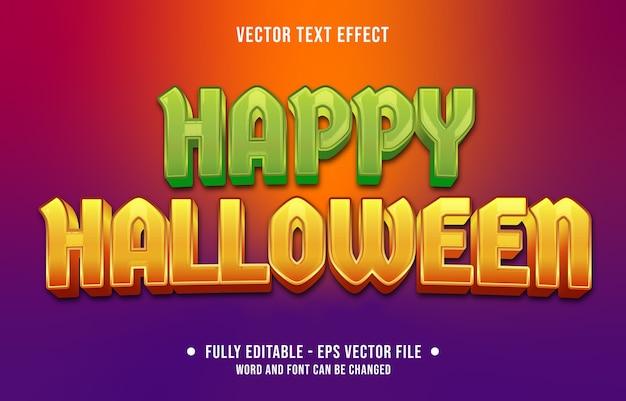 Bewerkbaar teksteffect kleurrijke happy halloween-stijl Premium Vector