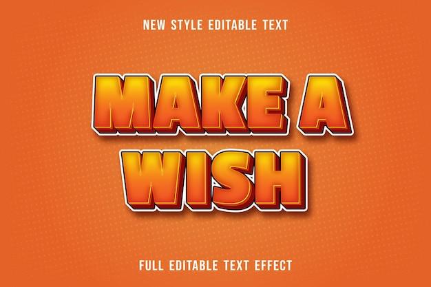 Bewerkbaar teksteffect maakt een wenskleur geel en oranje Premium Vector
