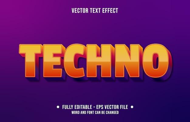 Bewerkbaar teksteffect moderne oranje technostijl Premium Vector