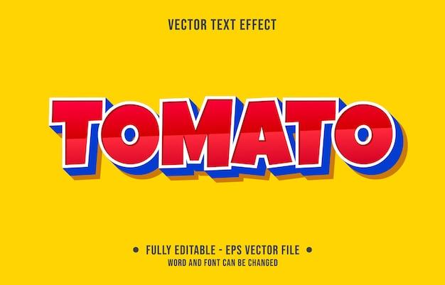 Bewerkbaar teksteffect moderne rode tomatenstijl Premium Vector