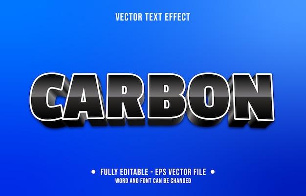 Bewerkbaar teksteffect moderne zwarte koolstofstijl Premium Vector