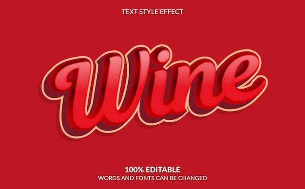 Bewerkbaar teksteffect, rode wijn-tekststijl Premium Vector