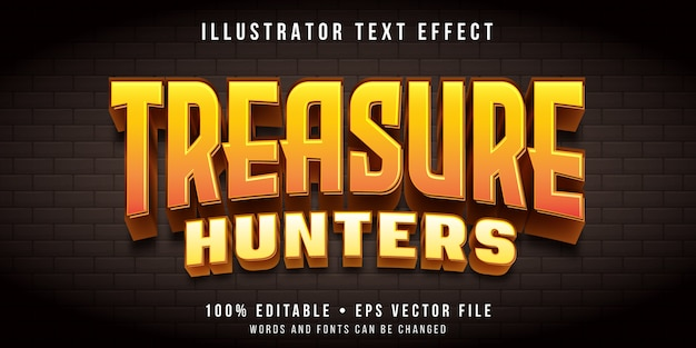 Bewerkbaar teksteffect - speurtocht spelstijl Premium Vector
