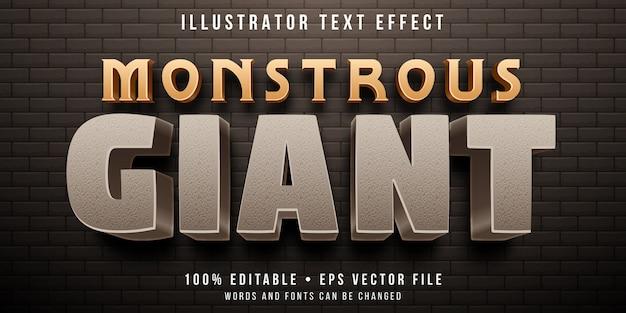 Bewerkbaar teksteffect - steen gigantische stijl Premium Vector