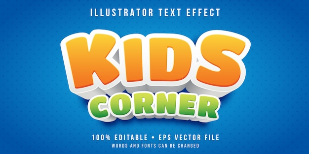 Bewerkbaar teksteffect - stijl voor kindersectie Premium Vector