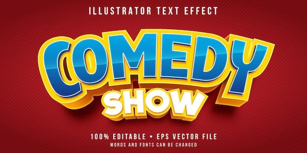 Bewerkbaar teksteffect - titelstijl comedyshow Premium Vector