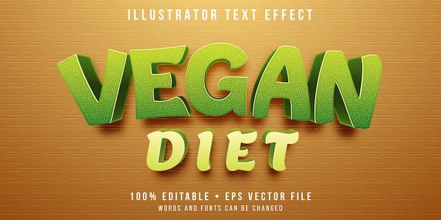 Bewerkbaar teksteffect - veganistische stijl Premium Vector