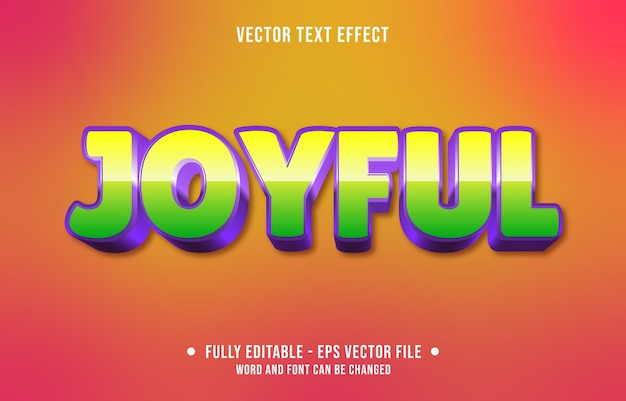 Bewerkbaar teksteffect vrolijke moderne stijl Premium Vector