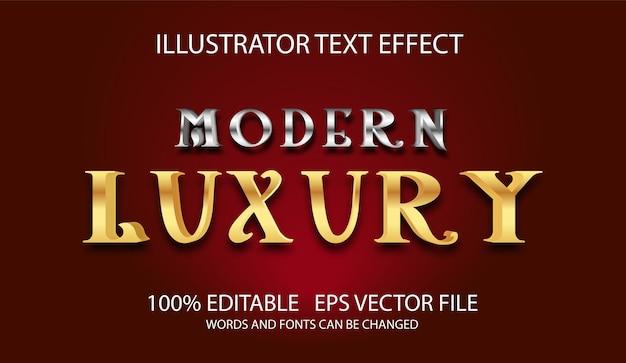 Bewerkbaar teksteffect zilver en goud luxestijl Premium Vector