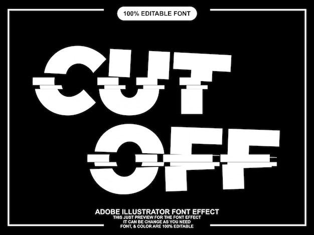 Bewerkbaar typografie lettertype-effect afgesneden Premium Vector