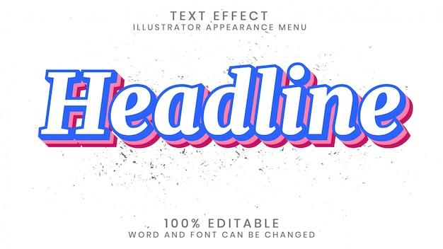 Bewerkbare 3d-teksteffectstijlsjabloon Premium Vector