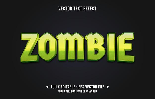 Bewerkbare teksteffect groene zombie monster stijl Premium Vector