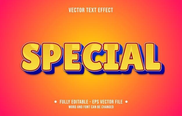 Bewerkbare teksteffect speciale gele stijl Premium Vector