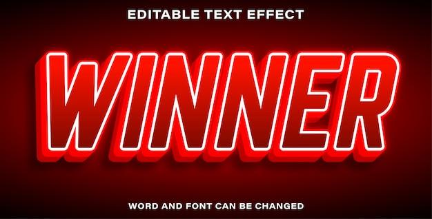 Bewerkbare teksteffectwinnaar Premium Vector