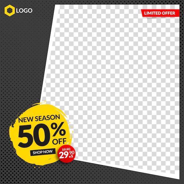 Bewerkbare verkoopbanner voor instagram en web met leeg abstract frame Premium Vector