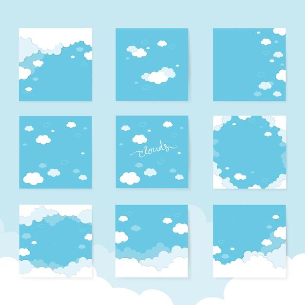 Bewolkte blauwe achtergrond Gratis Vector