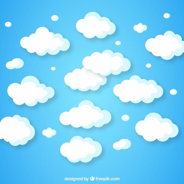 Bewolkte hemelachtergrond in vlak ontwerp Gratis Vector