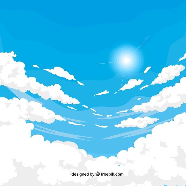 Bewolkte hemelachtergrond met zon in vlakke stijl Premium Vector