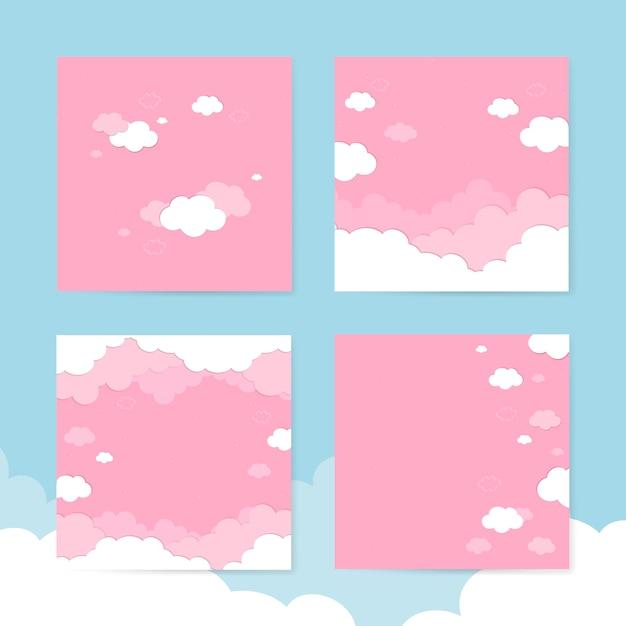 Bewolkte roze hemelachtergronden Gratis Vector