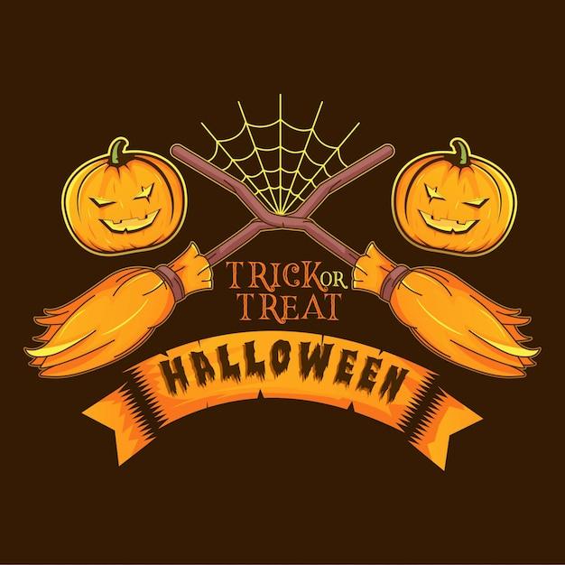 Bezem heks en griezelige pompoen logo afbeelding halloween Premium Vector
