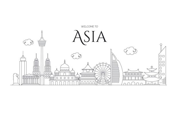 Bezoek de skyline van azië Gratis Vector