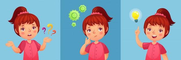 Bezorgd meisje. kind stelt vraag, verward en gevonden vragen antwoorden. doordachte klein meisje cartoon Premium Vector