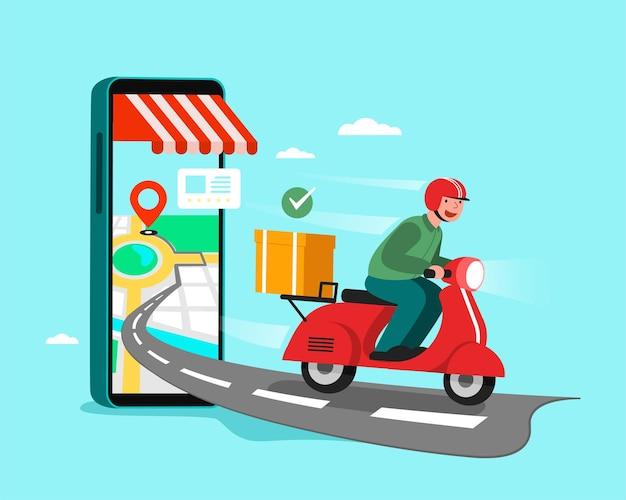 Bezorgers rijden motorfietsen, winkelconcept. Gratis Vector