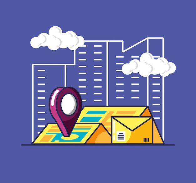 Bezorgservice envelop en pictogrammen Premium Vector