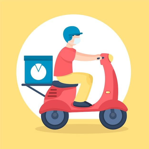 Bezorgservice man op scooter Gratis Vector
