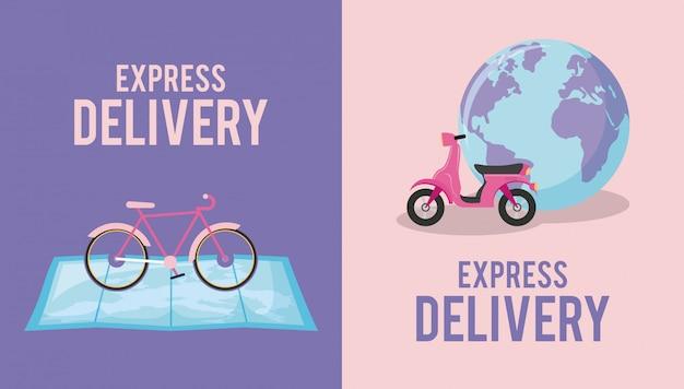 Bezorgservice met motorfiets en fiets Premium Vector